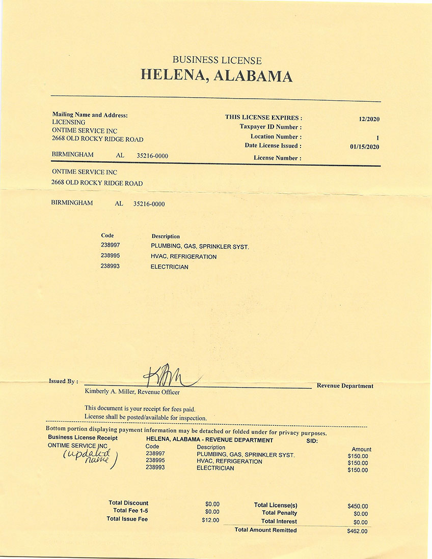 Business license for Helena, Alabama