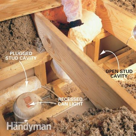 seal soffit stud cavities with garbage bag insulation