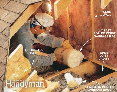 seal air leaks behind attic kneewalls