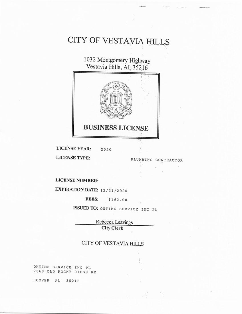 City of Vestavia Plumbing License