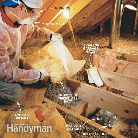 fill garbage bags with insulation to seal attic soffit cavities